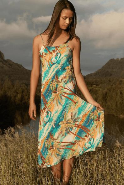 Avanti Hula Womens Silk Hawaiian Dress Vintage Print