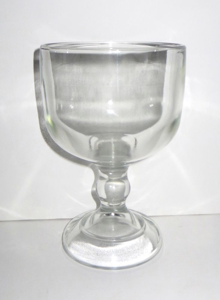 Vintage Large Pedestal Bowl Heavy Clear Gl The Stands 8 Inches Tall And Has A Top Diameter Of 5 1