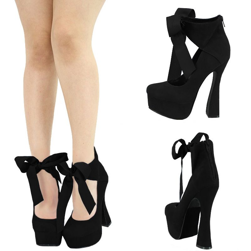 Ribbon Lace Up High Heels