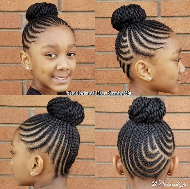 Cornrows Into A Bun Hairstyle Black Kids Hairstyles Natural Hairstyles For Kids Kids Hairstyles