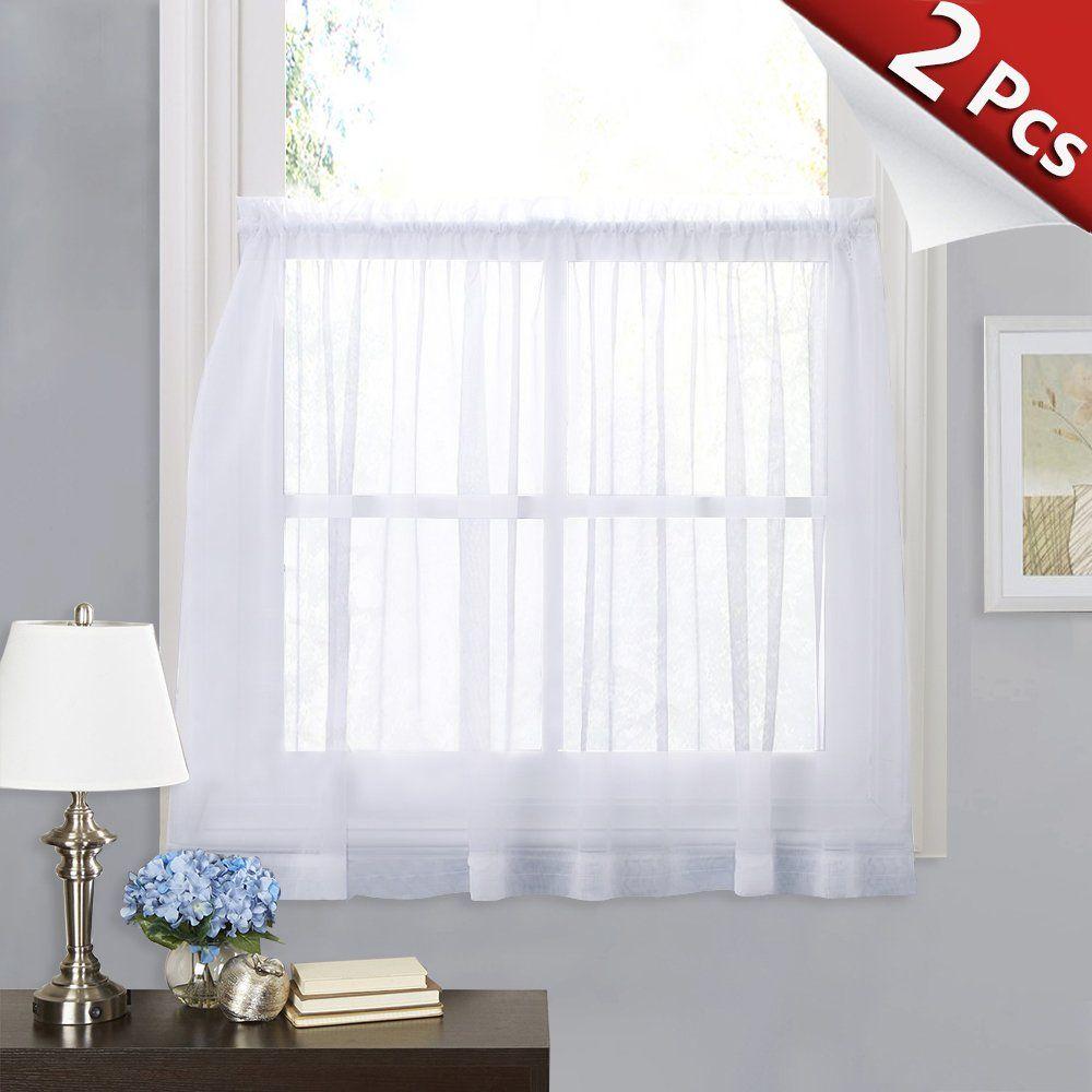 Ryb Home White Sheer Curtain Valance Drapes Half Window Dressing