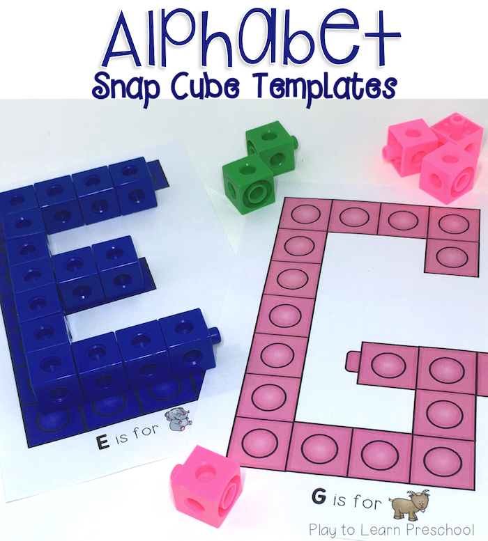 add these alphabet cards to the block center to make letters with unifix cubes