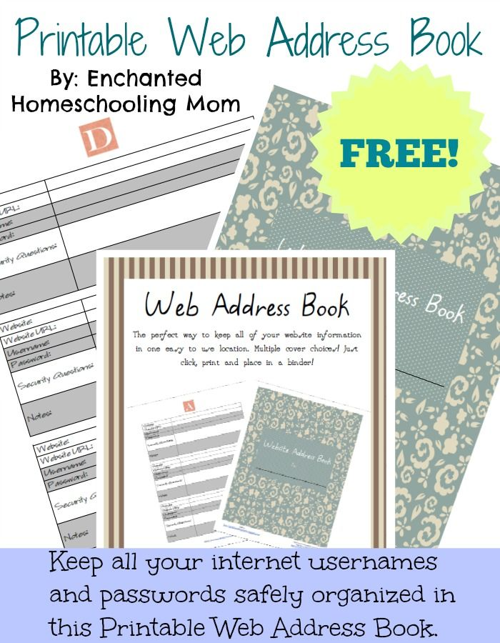 Printable Web Address Book Web address, Enchanted and Organizations