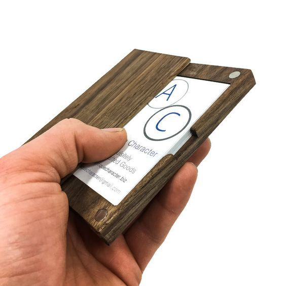 Wood Business Card Case  Holds 18-22 3.5 by 2 Standard Business Cards