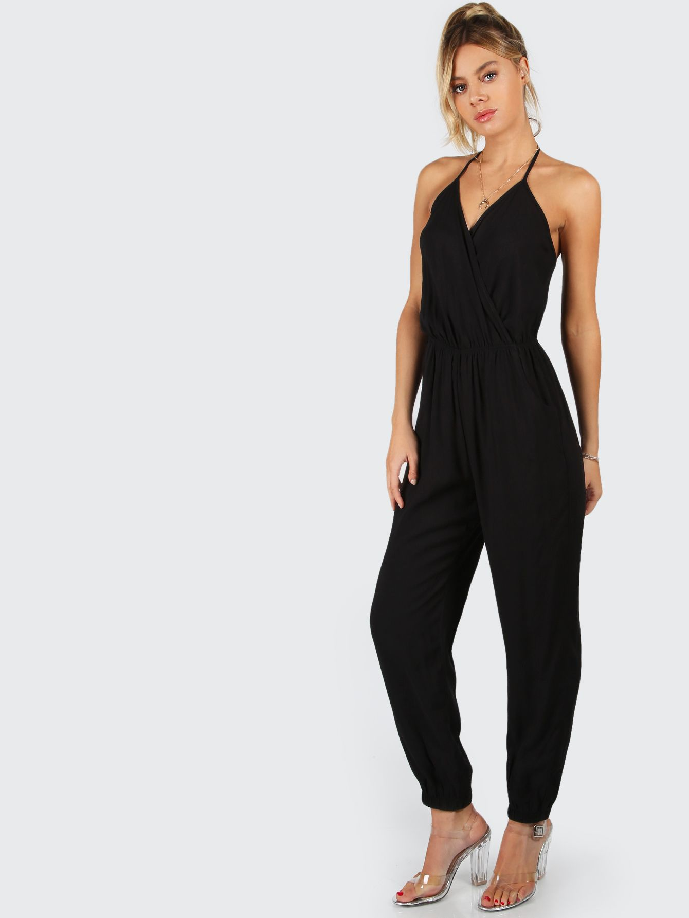 cea8d8d17c159d Shop Surplice Self Tie Halter Jumpsuit online. SheIn offers Surplice Self  Tie Halter Jumpsuit   more to fit your fashionable needs.