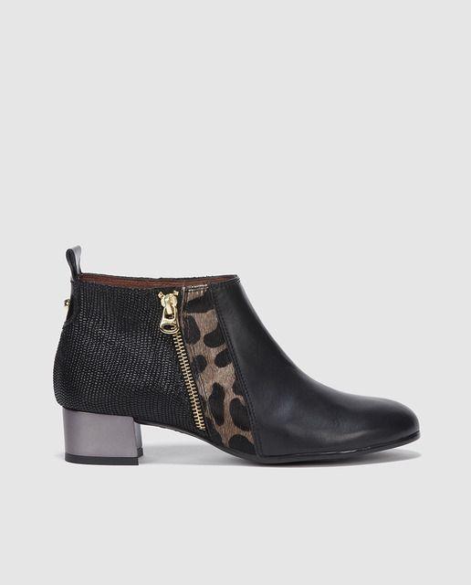 6a366f48 Botines de mujer Hispanitas de piel negros | Bolsos y zapatos ...