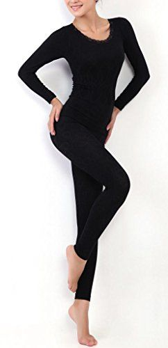 44d432a402a3d7 Women's Thermal Underwear Set Top & Bottom Fleece Lined | Amazon.com ...