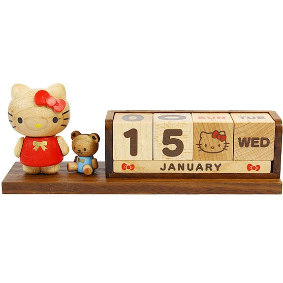 Hello Kitty Wooden Block Perpetual Desk Calendar Sanrio -Wood Office Decor_2015 Diary Planners_All Products_A Cute Shop Exciting New Store! - Where fun never ends~