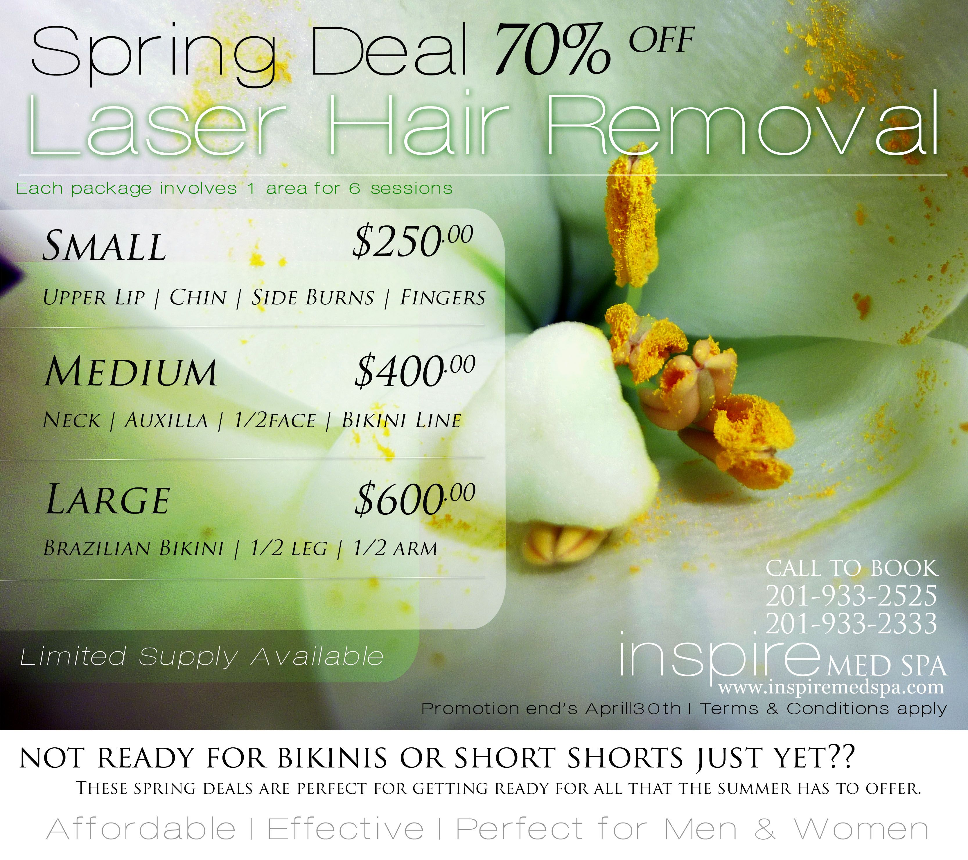 70% off Laser Hair Removal --Spring Deal | Inspire Med Spa