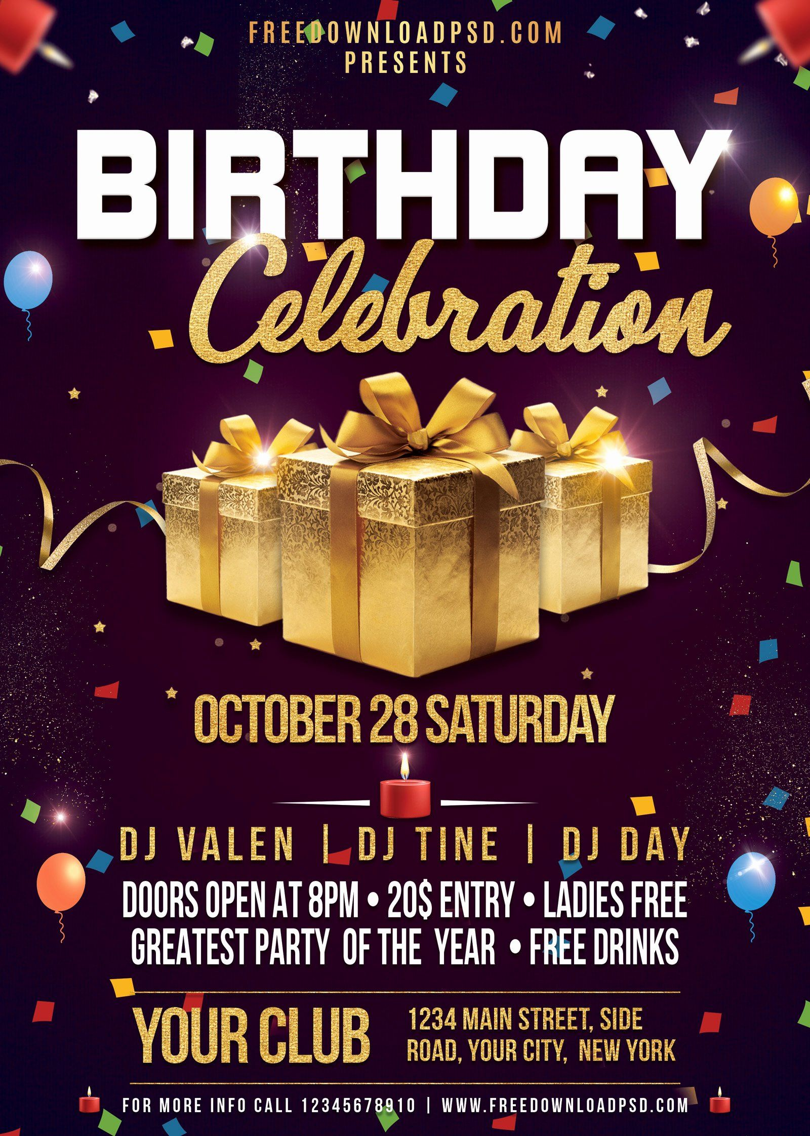 Birthday party flyer templates free lovely birthday flyer