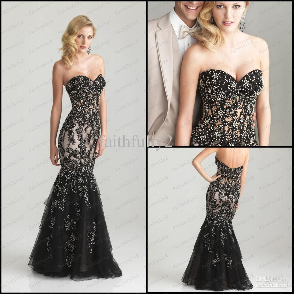 Wholesale 2013 Black Mermaid Prom Dress Lace Appliques See-Through ...