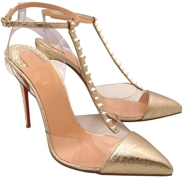 "43aaabc9ece4 Leather heels - Christian Louboutin golden ""Nosy Spikes"" high heel pumps"
