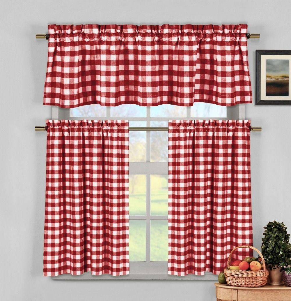 17 Red Window Treatments To Steal People S Attention Farmhouse Kitchen Curtains Red Kitchen Curtains