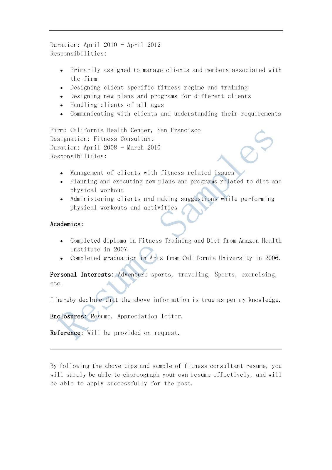 Resume Samples Fitness Consultant Resume, Image result for