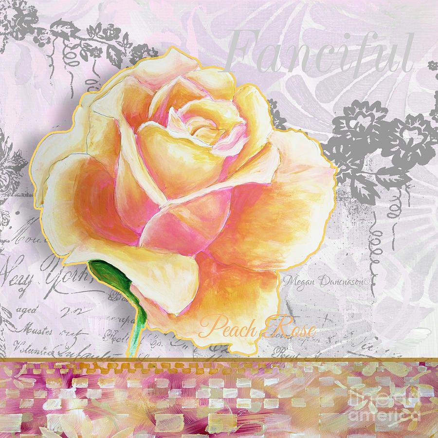 Beautiful Floral Peach Rose Original Flower Painting By Megan