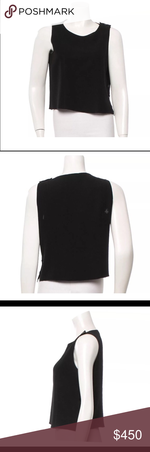 "Chanel crop top Black Chanel sleeveless woven crop top with cc logo black button closures at side and left shoulder. size L very good condition minor fading of fabric  Fabric not listed feels like cotton.  Bust 36"" Waist 36"" Length 19"" US 10 FR 42 view more photos on eBay listing CHANEL Tops Crop Tops"
