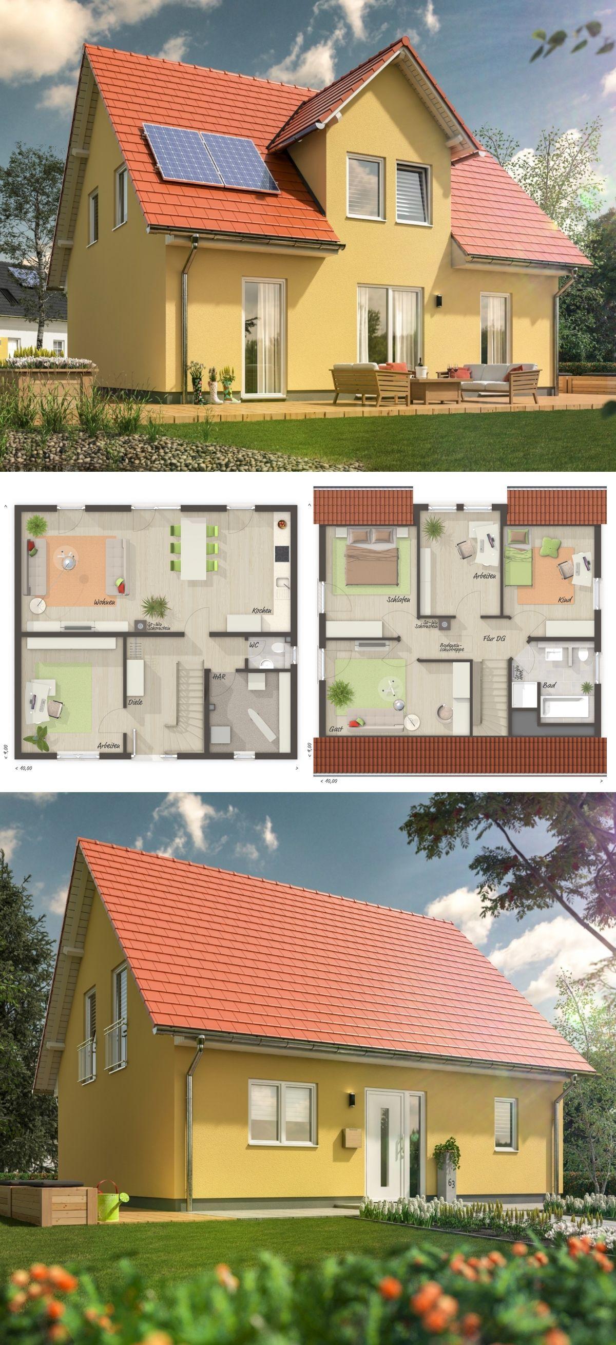 Klassisches Satteldach Haus Mit Giebel Putzfassade Gelb
