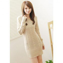 $11.25 Sweet Round Neckline Long Sleeve Over Hip Knitted Sweater For Women. I'm soooo digging this sweater dress! Isn't it adorable?! Teen winter fashion 2013
