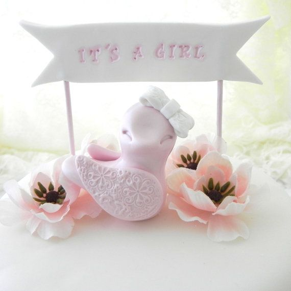 Baby Shower Cake Topper Pink Baby Girl Bird Itu0027s By LavaGifts, ...