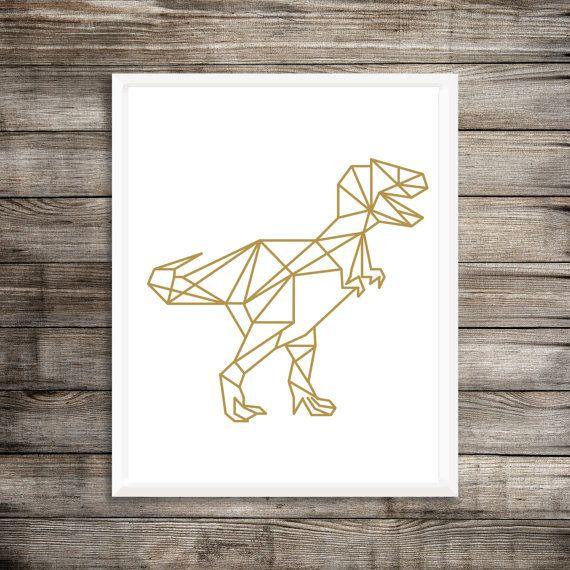 Geometric Dinosaur Art Print, Gold T Rex, geometric Decor, Modern ...