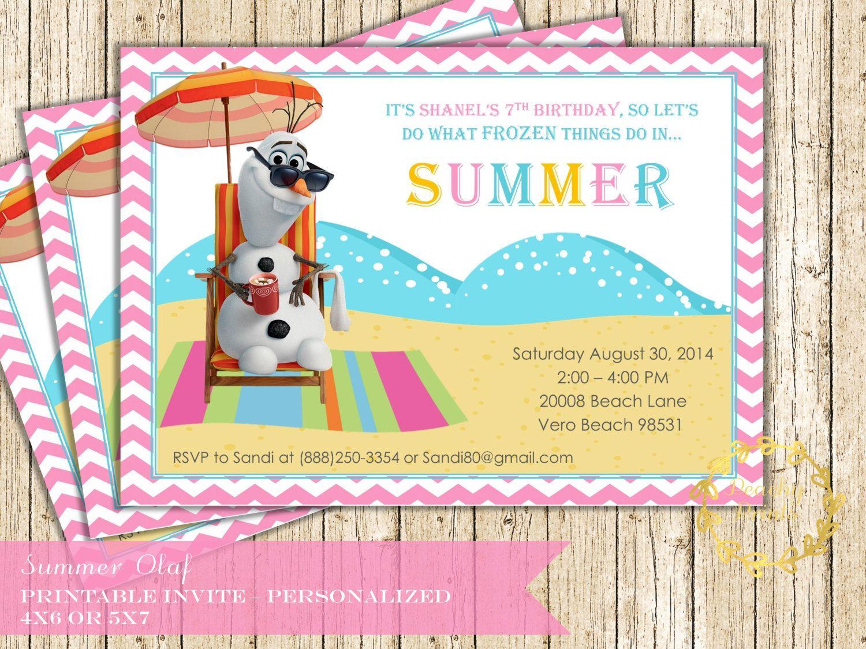 Olaf Summer Birthday Invite Frozen Inspired Birthday