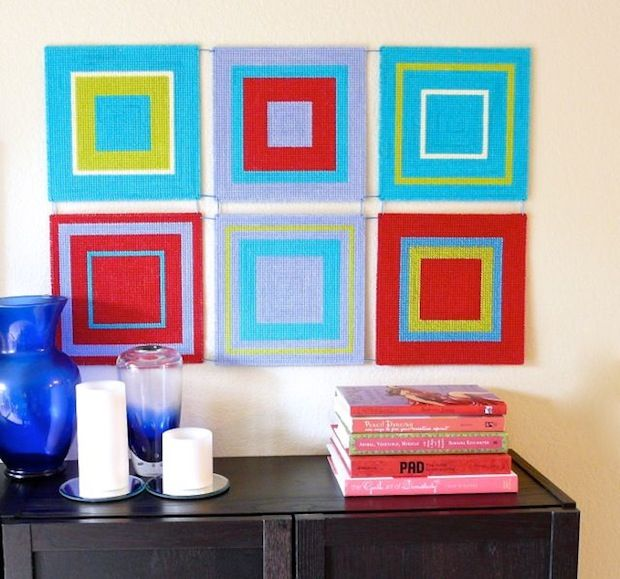 How-To: Modern Plastic Canvas Wall Art | Plastic canvas ...