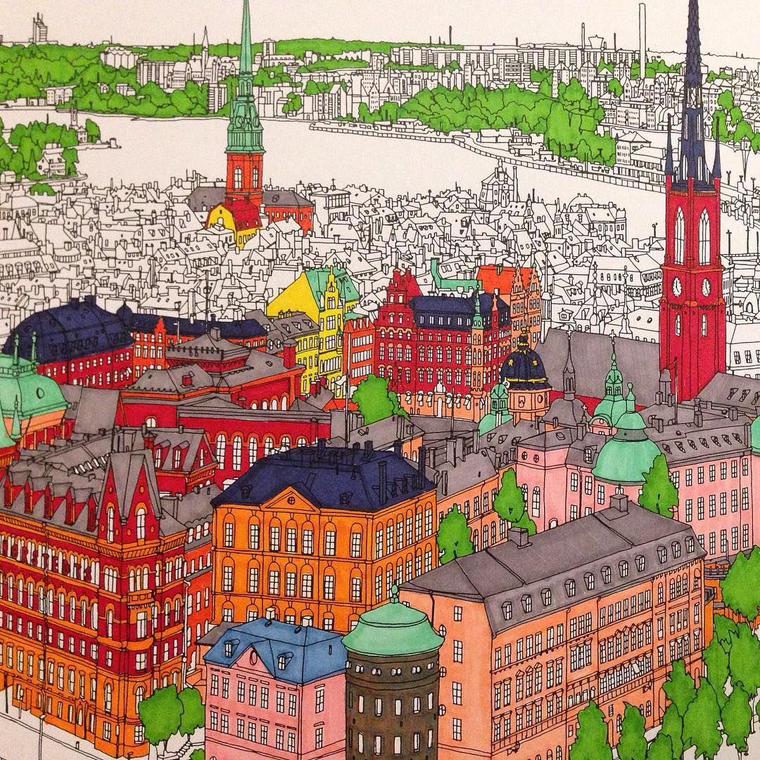 Pin de irina en Fantastic cities | Pinterest | Colorear, Ciudad y Pintar