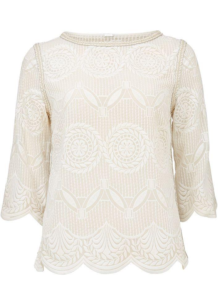 Gustav Cremefarvet broderet bluse 23609 Gustav Embroidery Top - ivory - Acorns