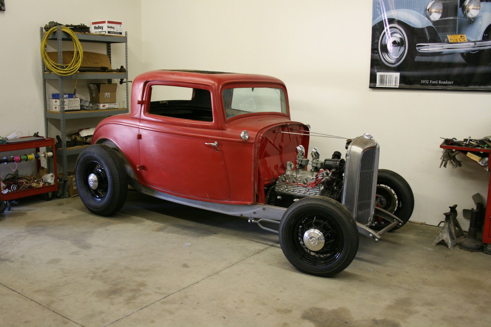 Genuine 1932 ford steel three window coupe project for sale with dyno don flathead