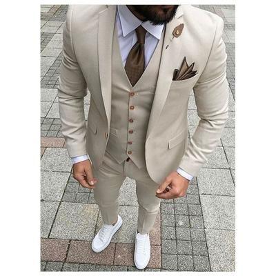 Custom Made Groomsmen Beige Groom Tuxedos Notch Lapel Men Suits Wedding Best Man Blazer ( Jacket+Pants+Vest +Tie) C324 #menssuits