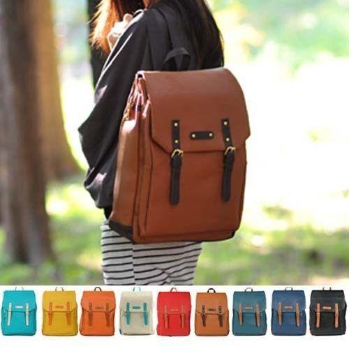 New Womens Fashion School Backpack Faux Leather Bookbag Girls Boys ...