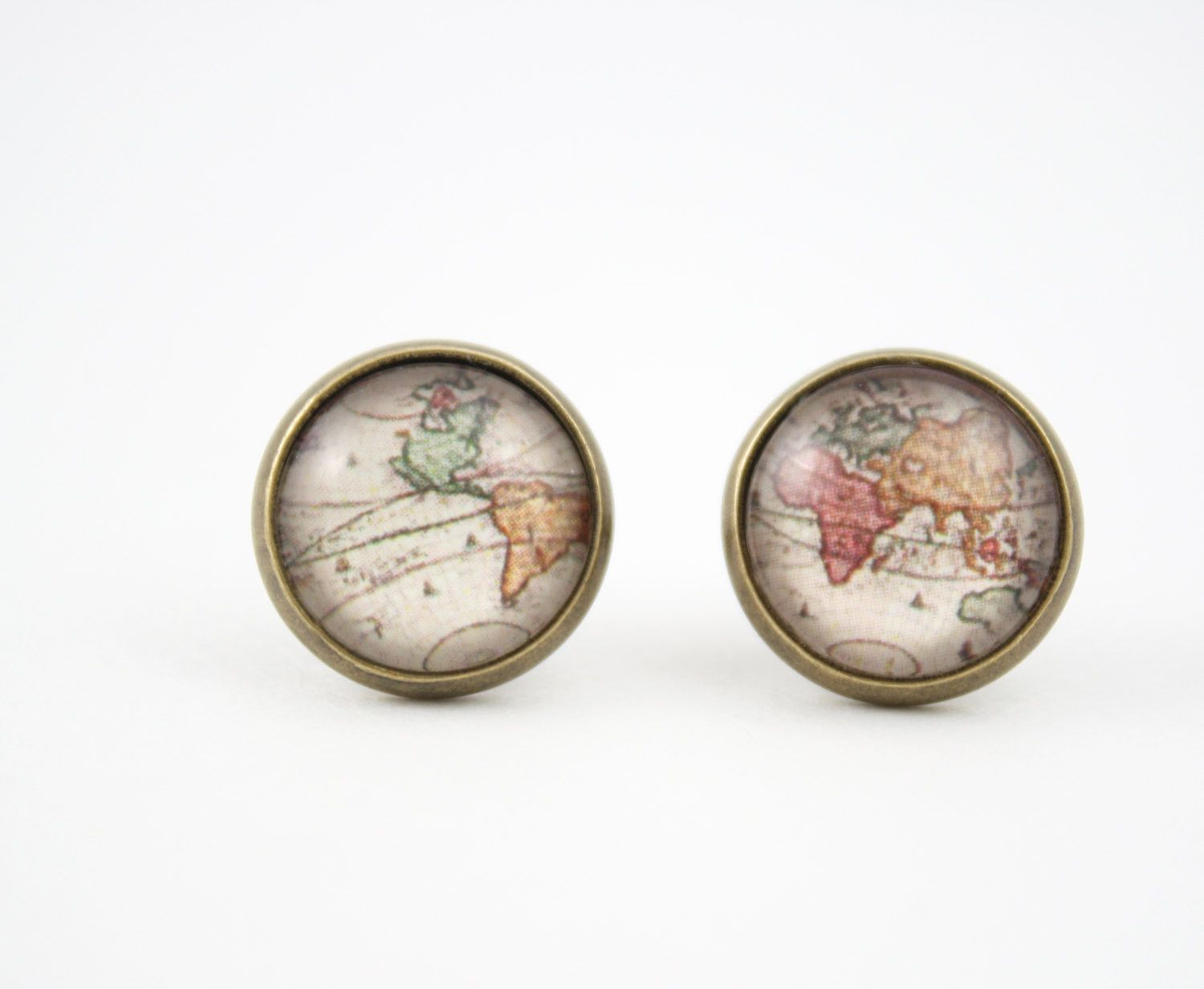 This pair of world map earrings were made with high quality prints and 12 mm clear glass domes. They are attached to 14 mm bronze earring studs with backings. Nickel Free & Lead Free Note: These glass
