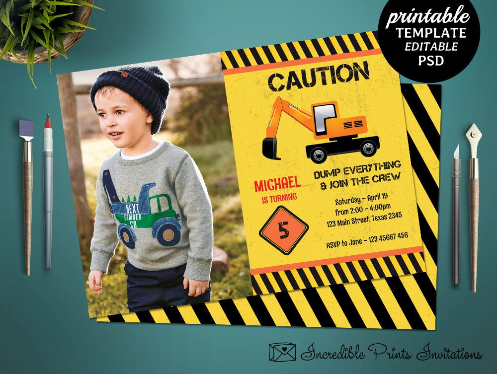 Printable Construction Boys 5th Birthday Invitation Template Crane Boy Party Invite By
