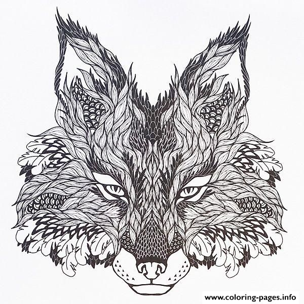 Print Adults Difficult Animals Wolf Hd Color Coloring Pages Fox Coloring Page Head Tattoos Wolf Colors
