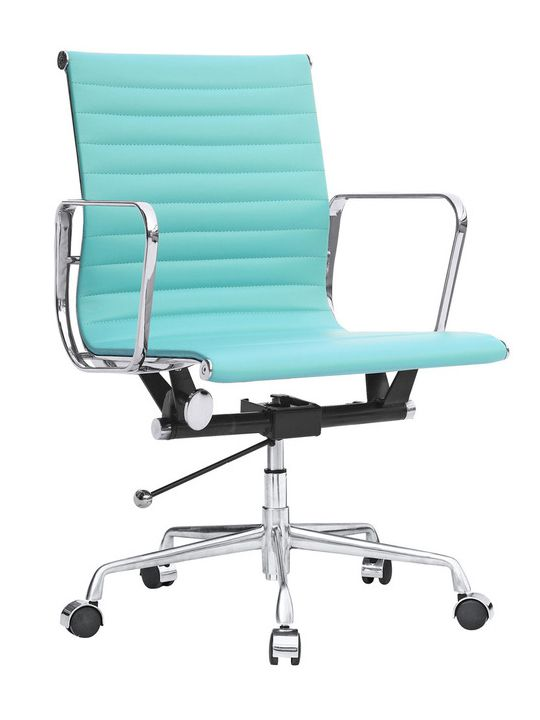 Mint Green Ribbed Mid Back Office Chair Office Chair Office Chair Wheels Modern Office Chair