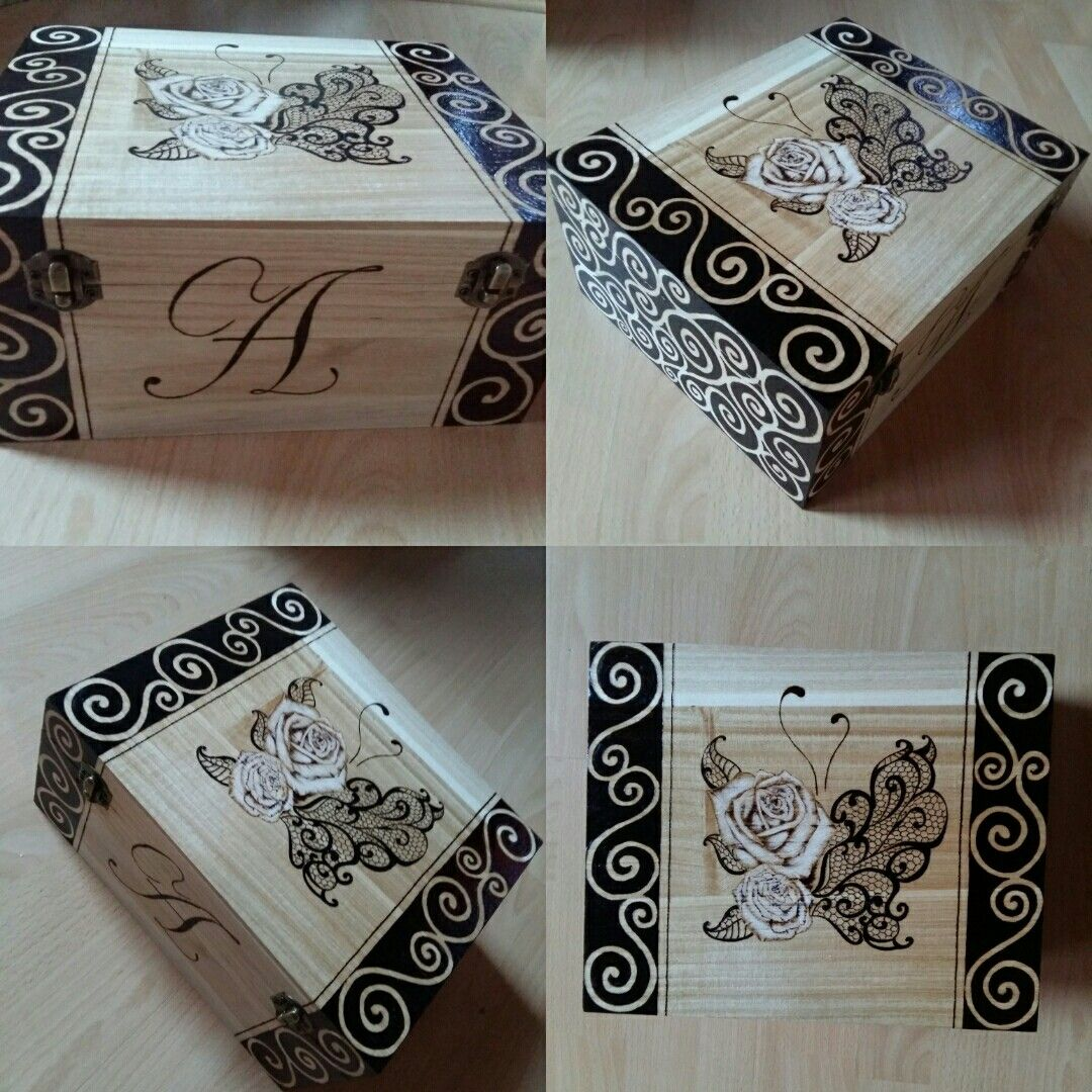 Woodbox with lace butterfly and roses - 2016.08.20.