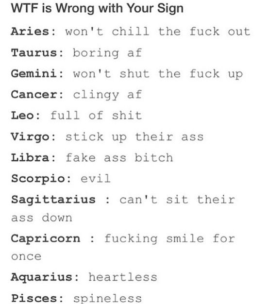 mine should be cancers because jack never smiles | Zodiac signs