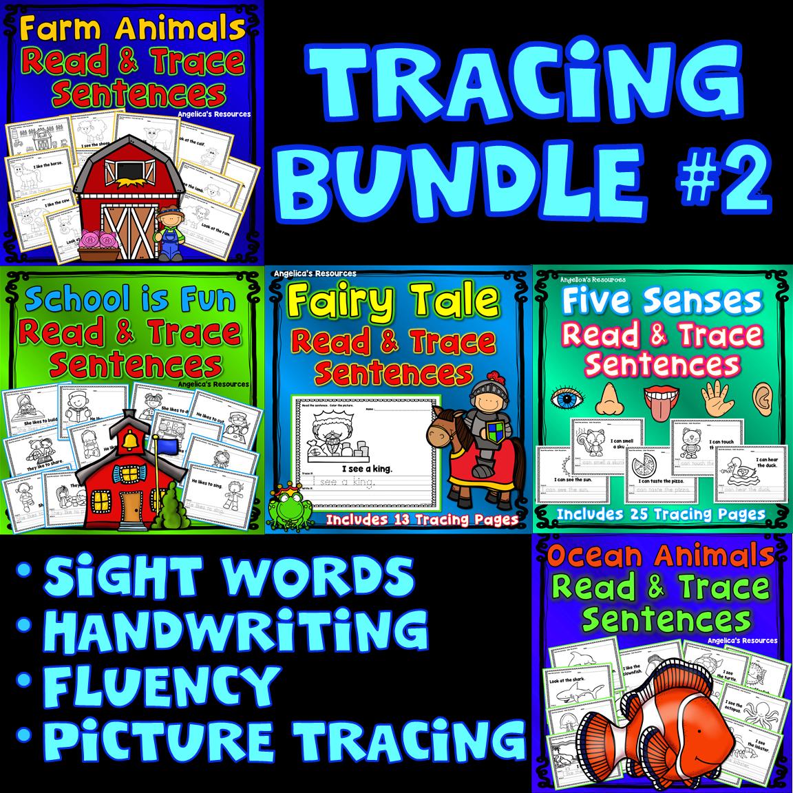 Tracing Bundle 2 Five Senses Farm Animals Fairy Tale