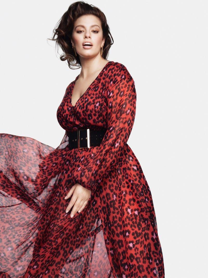 f8e539c4519 Dressed in a red leopard print dress, Ashley Graham fronts Marina Rinaldi  fall-winter 2018 campaign