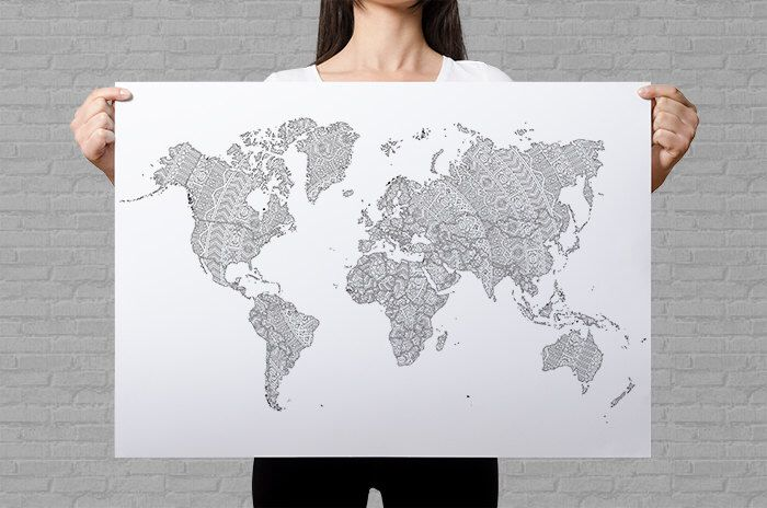 World map poster giant coloring page travel map etsy sales map world map poster giant coloring page travel map etsy sales map art gumiabroncs Image collections