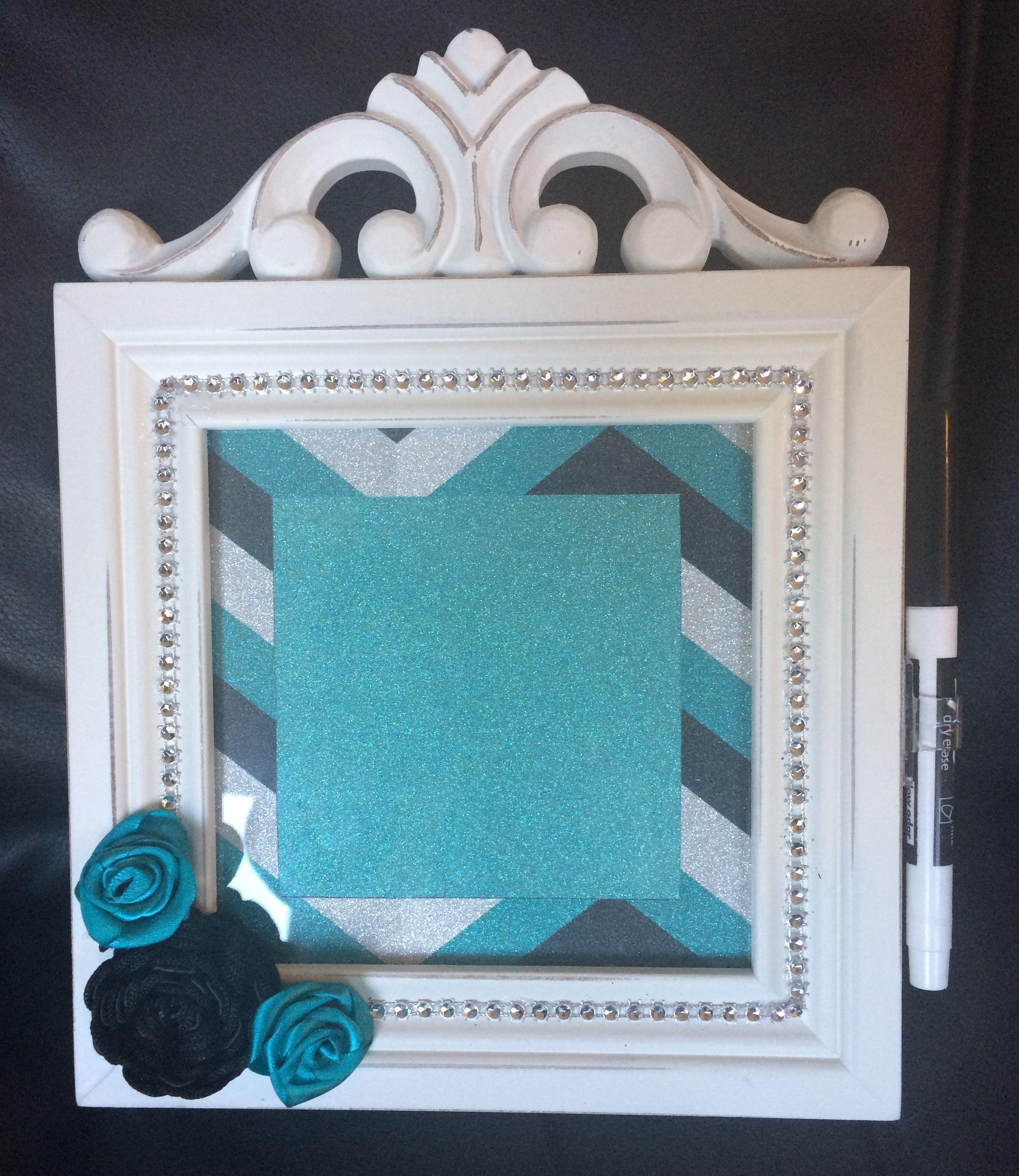 Dry erase frame. Used coordinating glitter paper, black