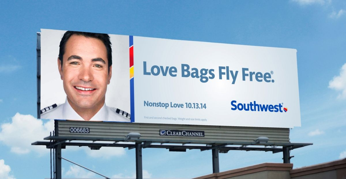 Gráfica exterior con la nueva imagen de Southwest Airlines, por Lippincott