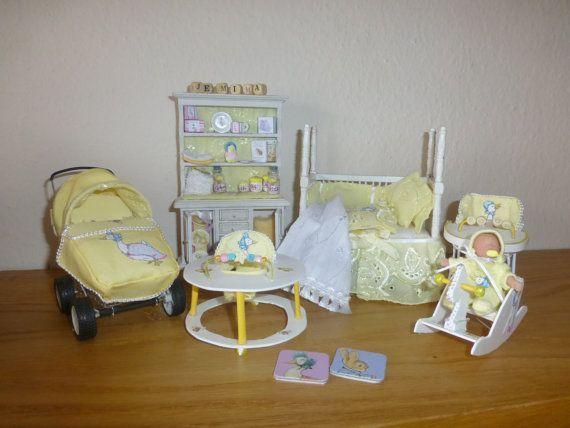 Items similar to Dolls House Miniature OOAK Beatrix Potter 1/12  6 piece Nursery Set and OOak Baby on Etsy,  #baby #Beatrix #Dollhousesminiatures #dolls #Etsy #house #Items #MINIATURE #Nursery #OOAK #piece #Potter #set #similar