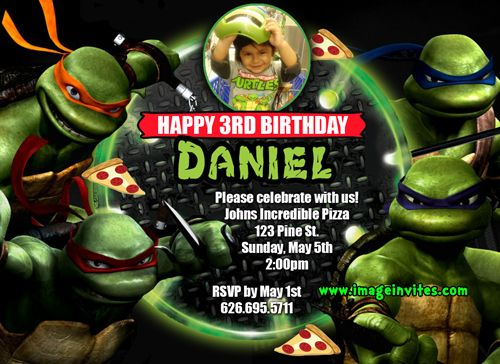 Teenage Mutant Ninja Turtles Personalized Photo Birthday Invitations