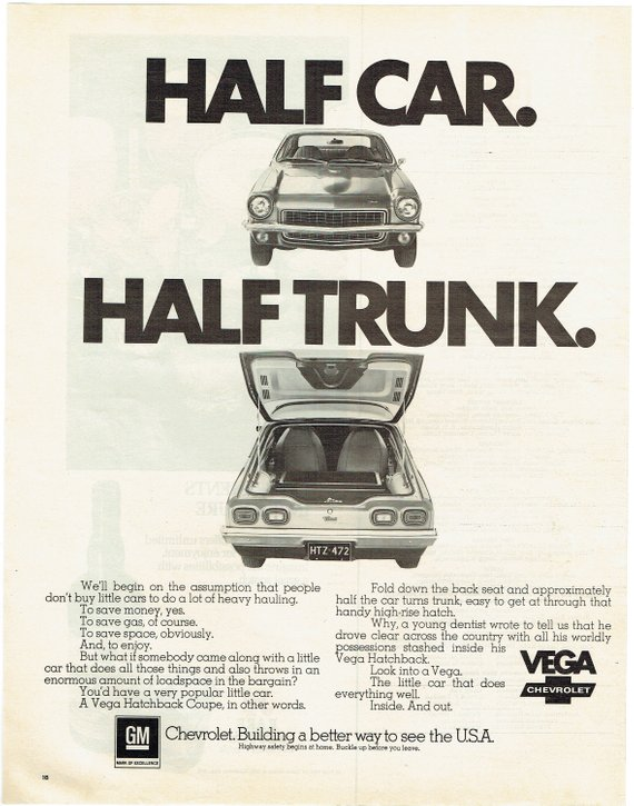 1972 Advertisement Chevy Vega Hatchback Coupe Chevrolet Half Car Trunk 70 S 72 Classic Car Automotive Driver Owner Gm Garage Wall Art Decor Chevy Classic Cars Vintage Ads