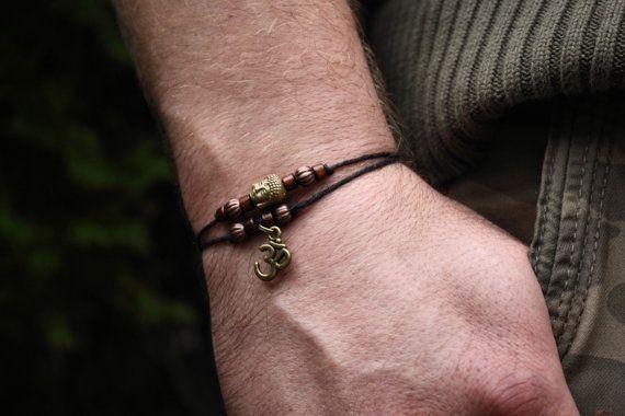 Men's bracelet. Organic Hemp Bracelet with by RunThroughTheForest