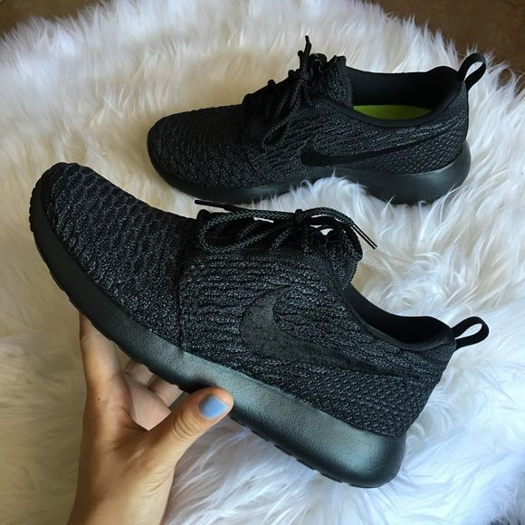 3ae5b968b714e Womens Nike Roshe One Flyknit ID Brand new with box but no lid. Customized  with Nike ID- Retails for  160 Tax- All Black Nike Shoes Athletic Shoes  Clothing
