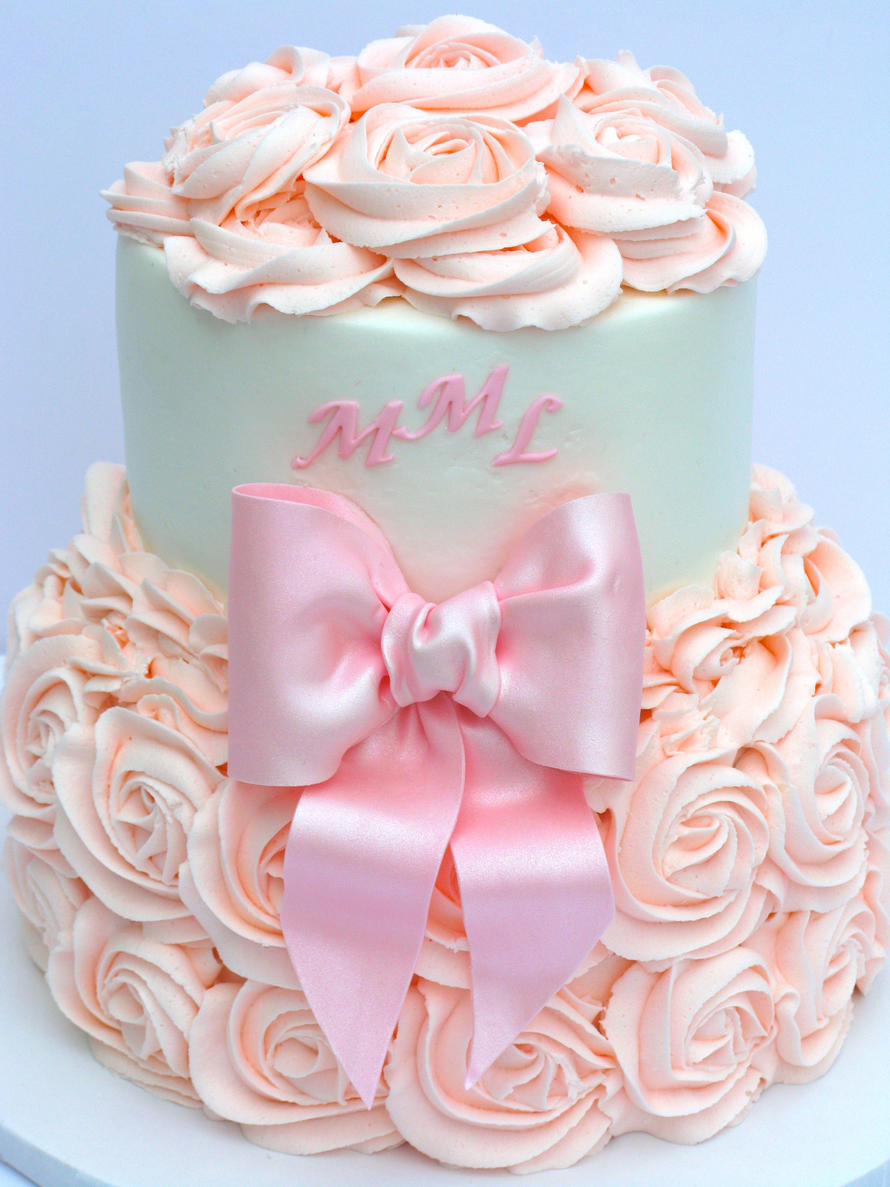 Baby girl 8 and 6 buttercream rose cake
