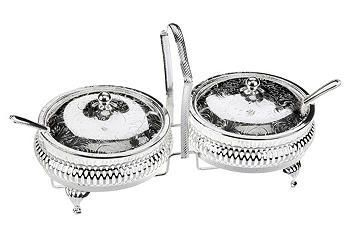 Silver-Plated Lidded Jam Server & Spoons (With images