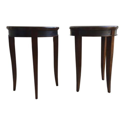 Traditional Hickory Chair Round Cherry Side Tables A Pair